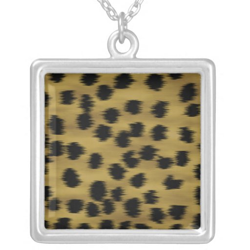 Black and Golden Brown Cheetah Print Pattern. Personalized Necklace