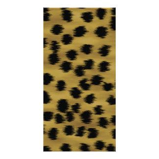 Black and Golden Brown Cheetah Print Pattern. Photo Card