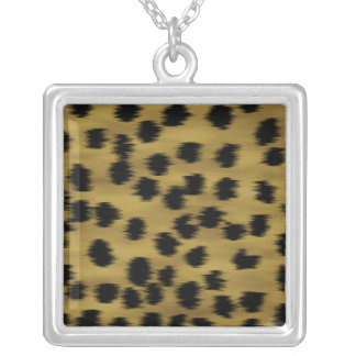 Black and Golden Brown Cheetah Print Pattern. Square Pendant Necklace