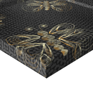 Black and golden butterfly pattern with halftones canvas print