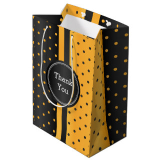 Black and Golden Yellow Polka Dot -Thank You Medium Gift Bag