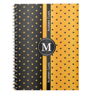 Black and Golden Yellow Polka Dots Notebook
