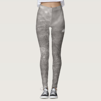 Black and gray abstract wood pattern leggings
