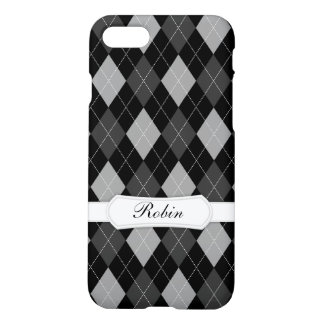 Black and Gray Argyle- Add Your Name iPhone 7 Case