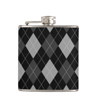 Black and Gray Argyle Hip Flask