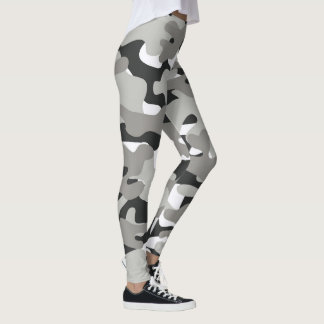Black And Gray Camouflage Leggings