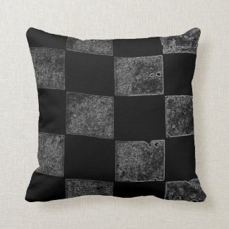 Black and Gray Checkered Flag Throw Pillow