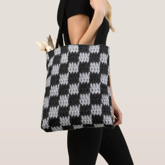 Black and Gray Chessboard Pattern Squares Crochet Tote Bag