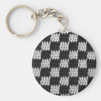 Black and Gray Chessboard Squares Crochet Print on Keychain