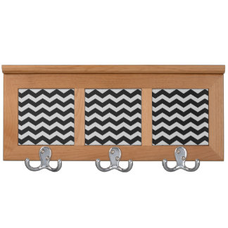 Black and Gray Chevron Zigzag Wall Hook Coat Rack