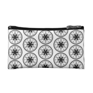 Black and Gray Circle Cosmetic Case