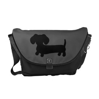 Black and Gray Dachshund Messenger Computer Bag Commuter Bags