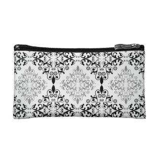 Black and Gray Damask Cosmetic Bag