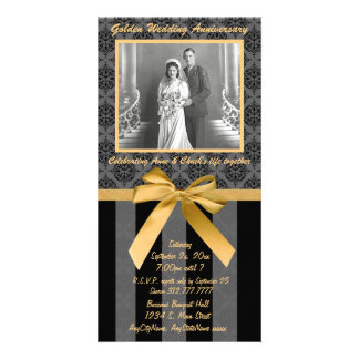 Black And Gray Damask Golden Anniversary Card Customized Photo Card