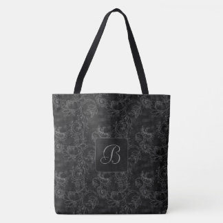 Black and Gray Damask Monogram Tote Bag
