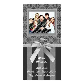 Black And Gray Damask Silver Ribbon Photo Card