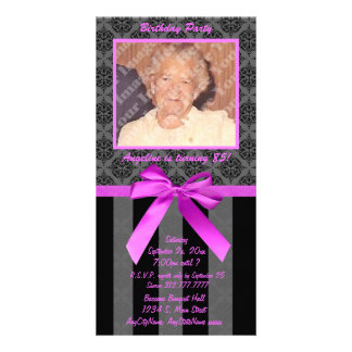 Black And Gray Damask With Hot Pink Ribbon Customized Photo Card