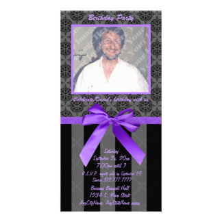 Black And Gray Damask With Purple Ribbon Photo Greeting Card
