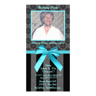Black And Gray Damask With Teal Ribbon Photo Cards