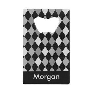 Black and Gray diamond geometric design Wallet Bottle Opener