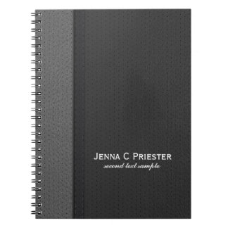 Black And Gray Faux Leather Spiral Notebook