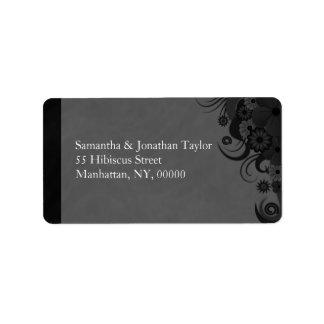 Black and Gray Floral Large Return Address Labels