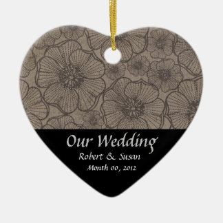 Black and Gray Floral Wedding Favor Keepsake Ceramic Ornament