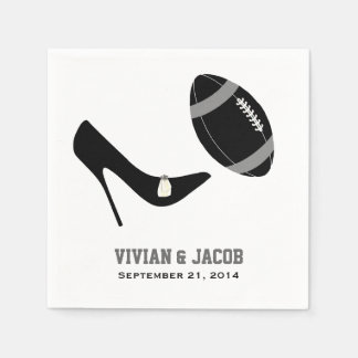 Black and Gray Football Custom Wedding Napkin Disposable Napkin