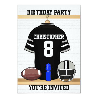 "Black and Gray Football Jersey Birthday Party 5"" X 7"" Invitation Card"