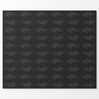 Black and Gray Ghost Fish Wrapping Paper