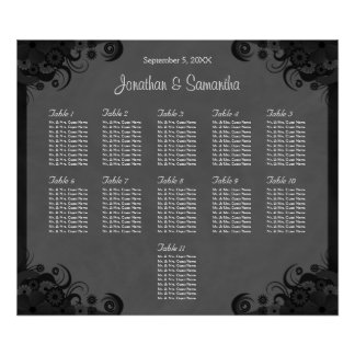 Black and Gray Goth Wedding 11 Table Seating Chart Poster