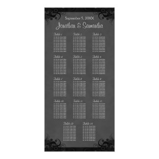 Black and Gray Goth Wedding 14 Table Seating Chart Poster