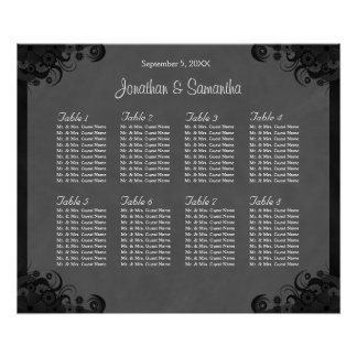 Black and Gray Goth Wedding 8 Tables Seating Chart Poster
