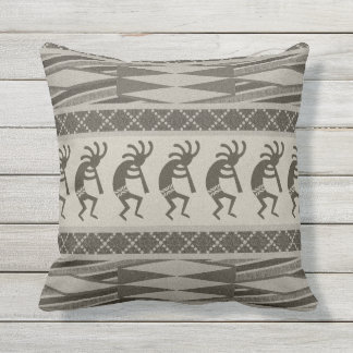 Black And Gray Kokopelli Aztec Pattern Throw Pillow