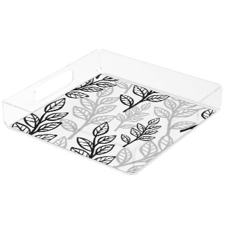 Black and Gray leaves Acrylic Tray