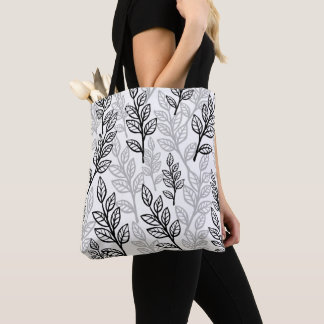 Black and Gray Leaves Tote Bag