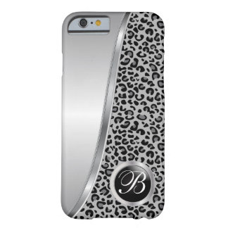 Black and Gray Leopard Print | Monogram Barely There iPhone 6 Case