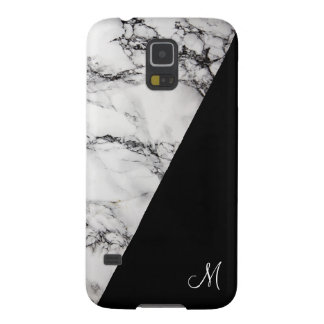 Black And Gray Marble Stone Texture Monogram Galaxy S5 Cases