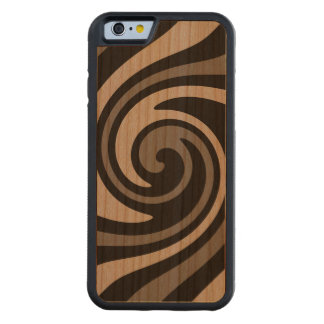 Black and gray modern abstract swirl carved cherry iPhone 6 bumper case