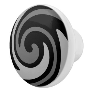 Black and gray modern abstract swirl ceramic knob