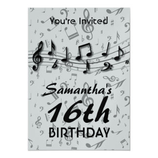 Black and Gray  Music Notes  Birthday Party Card