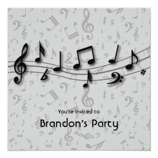 """Black and Gray Music Notes Party 5.25"""" Square Invitation Card"""