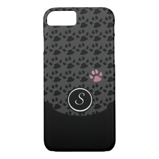 Black and gray/pink Paw Print iPhone 8/7 Case