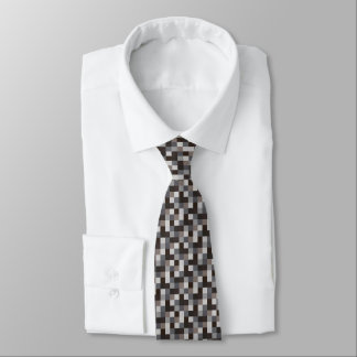 Black and Gray Pixelated Pattern | Gamer Tie