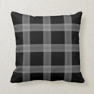 Black And Gray Plaid Pattern Sofa Throw Pillow