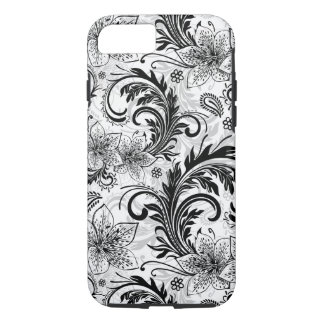 Black And Gray Retro Flower Large Pattern iPhone 7 Case