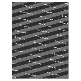 Black and Gray Rugby Stripes with Custom Name Tissue Paper