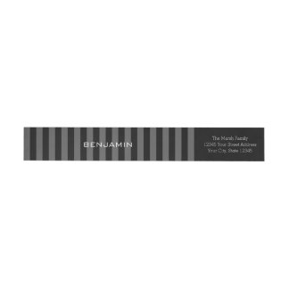 Black and Gray Rugby Stripes with Custom Name Wrap Around Label