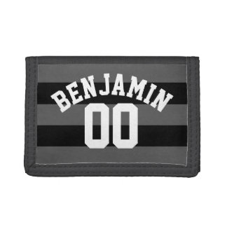 Black and Gray Silver Rugby Stripes Name Number Tri-fold Wallets