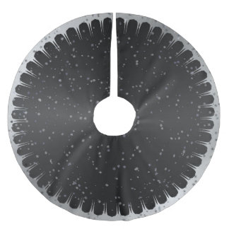 Black and Gray Starry Christmas Tree Skirt Brushed Polyester Tree Skirt